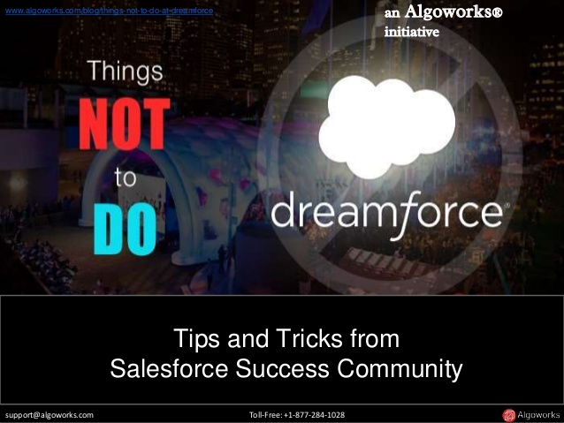Things Not To Do At Dreamforce: Tips & Tricks from Salesforce Success Community