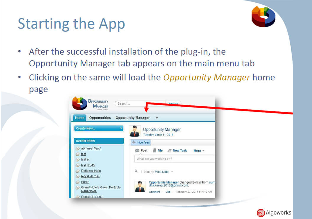 Algoworks Opportunity Manager App
