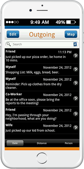 geofence sms messaging application